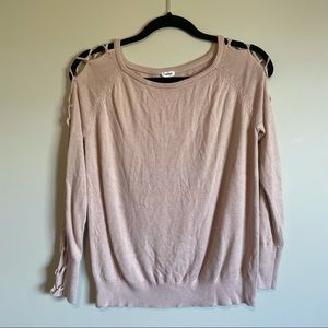 Garage lace up sleeves lightweight sweater
